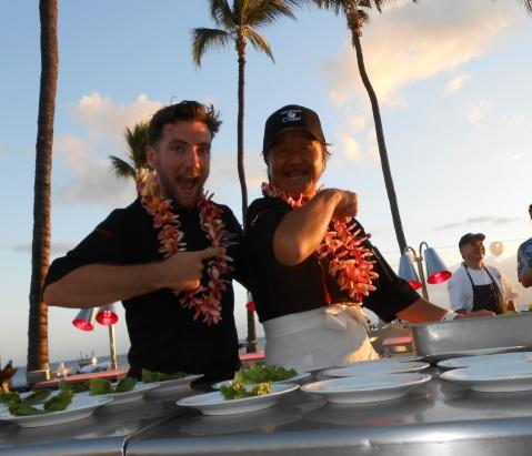 Marcel Vigneron plates his course with Iron Chef Sakai